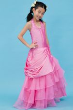 Fuchsia Halter Organza and Taffeta Beading Flower Girl Dress