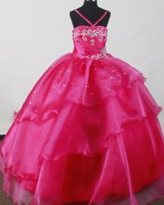 Coral Ball Gown Little Girl Pageant Dress Layer Halter Beading