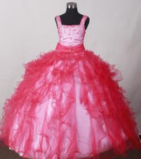2013 Brand New Coral Red Straps with Beading for Little Girl Pageant