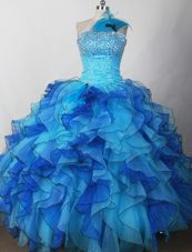 2013 Colorful One Shoulder Ruffles and Beading