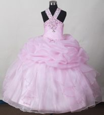 Baby Pink Little Girl Pagent Dress with Beading Halter Pick-ups