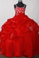 Red Embroidery and Pick-ups for Little Girl Pagent Dress with Straps