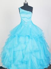 2013 Lovely Aqua Blue One Shoulder Layered Flower Girl Dress
