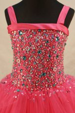 Pretty Beading Coral Red Straps Little Girl Pageant Dresses