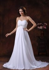 Beaded Waist White Sweetheart Wedding Dress Brush Train