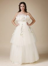 Floor-length Wedding Dress Taffeta Organza Appliques