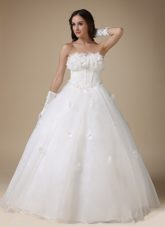 A-line Strapless Wedding Dress Simple Taffeta Organza