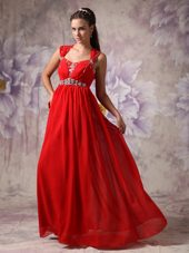 Red Straps Floor-length Chiffon Beading Evening Dresses