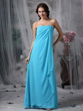 MaxiCelebrity Dresses Teal Empire Strapless Handle Flowers