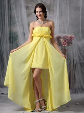 Hand Made Flowers Celebrity Dresses Yellow Column High-low