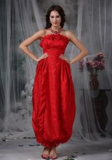 Bow MaxiCelebrity Dresses Red Column Strapless Ankle-length