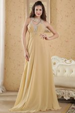 Beading PromMaxi Dresses Floor-length Gold Empire Scoop