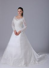 A-line V-neck Lace Wedding Dress With Court Train