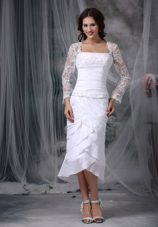 Column Sheath Wedding Dress Square Chiffon Lace