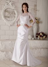 Mermaid Wedding Dress Bateau Brush Train Appliques
