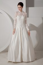 High-neck Brush Train Wedding Dress A-line Taffeta
