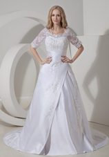 Modest A-line Scoop Chapel Train Lace Wedding Dress