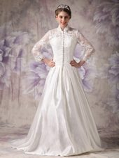 Ivory A-line Court Train Wedding Dress Satin Lace