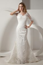 Mermaid V-neck Court Train Wedding Dress Taffeta