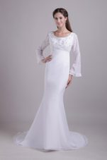 White Trumpet Mremaid Train Chiffon Wedding Dress