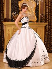 White and Black Strapless Embroidery Quinceanera Dress