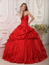 Taffeta Sweetheart Beading Red Quinceanera Dress Pick Ups