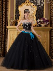 Black Strapless Appliques Tulle Quinceanera Dress Sash