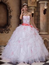 White with pink Quinceanera Dress Strapless Organza sash