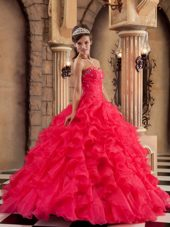 Ruffles Red Sweetheart Organza Quinceanera Dress 2013
