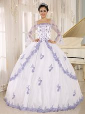 Long Sleeves Lilac Embroidery Quinceanera Dress White Square
