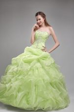 Spring Green Quinceanera Dress Strapless Orangza Beading and Ruffles