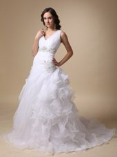 V-neck Taffeta and Organza Ruffles Wedding Dress
