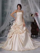 A-Line Princess Wedding Dress Strapless Taffeta Ruched