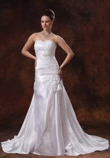 Column Ruched Appliques Sweetheart Court Train Wedding Dress