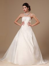 Beaded Satin Ball Gown Court Train Church Wedding Dress