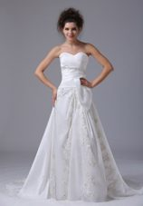 Fashionable Sweep Train Beading Wedding Dress Organza 2013