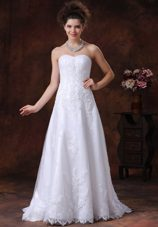 Lace Sweetheart Brush Train Romantic Wedding Dress Beaded