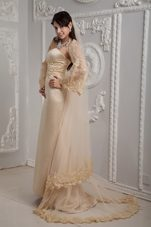 Champagne Column Strapless Lace Appliques Brush Wedding Dress