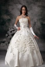 Classical Flowers Ball Gown Satin Appliques Wedding Dress