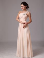 One Shoulder Champagne Beading Empire Prom Pageant Gowns