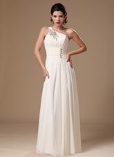Empire Beading One Shoulder White Prom Dress with Natural Waist