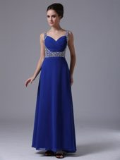 Empire Beading Shoulder Straps Royal Blue Evening Dress