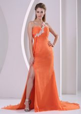 Appliques One Shoulder Brush Train Celebrity Dresses Orange Red