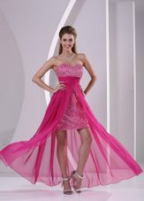 Paillette Empire Hot Pink Sweetheart Prom Evening Dress