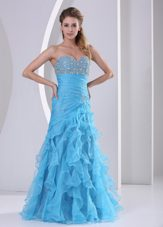 Beading Column Sweetheart Baby Blue 2013 Pageant Evening Dress