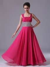 Hot Pink Straps Beading Column Pageant Dress Ruched