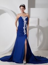Appliques and Ruching Blue Column Sweetheart Brush Train Celebrity Dresses