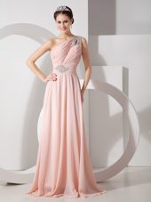 Baby Pink One Shoulder Brush Train Empire Beading Evening Dress