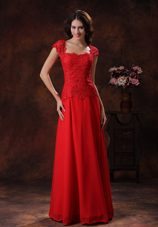 Custom Made Red Square Neckline 2013 Evening Dress