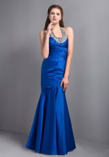 Mermaid Halter Blue Ankle-length Beading Pageant Evening Dress